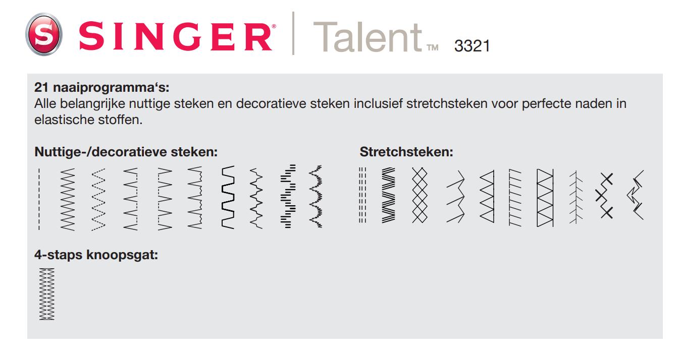 Singer 3321 Talent steken